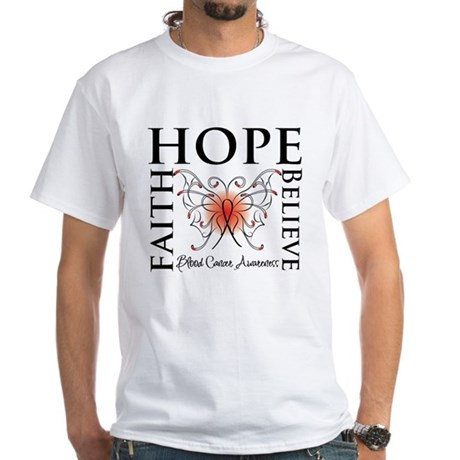 Blood Cancer Faith Hope White T-Shirt