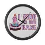 I Sing On The Cake Large Wall Clock