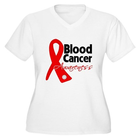 Blood Cancer Ribbon Women's Plus Size V-Neck T-Shi
