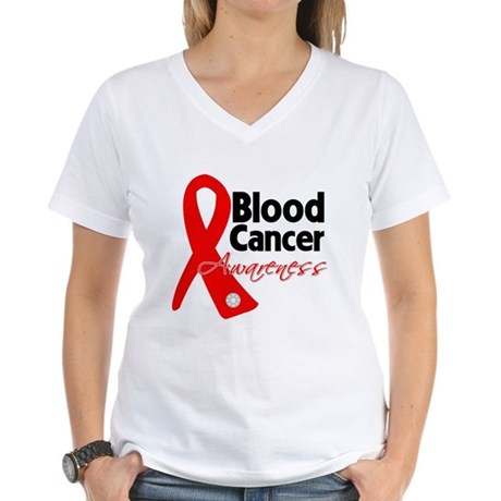 Blood Cancer Ribbon Women's V-Neck T-Shirt