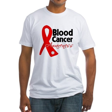 Blood Cancer Ribbon Fitted T-Shirt
