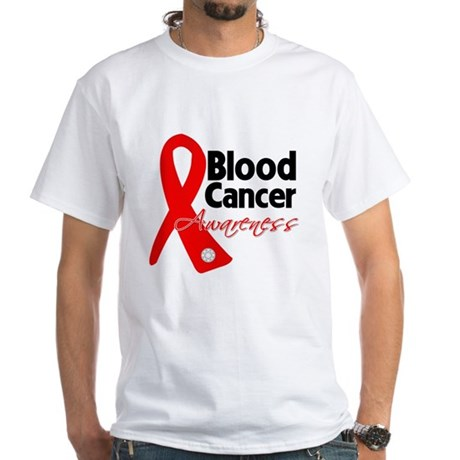 Blood Cancer Ribbon White T-Shirt