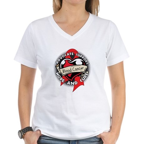 Blood Cancer Heart Ribbon Women's V-Neck T-Shirt