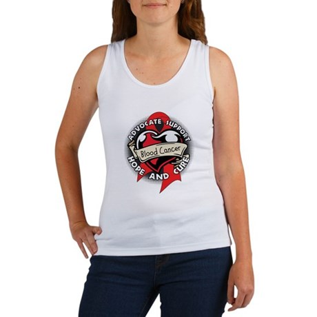 Blood Cancer Heart Ribbon Women's Tank Top