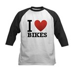 I Love Bikes Kids Baseball Jersey