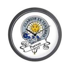 Purves Clan Badge Wall Clock