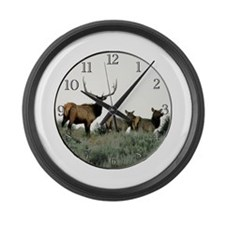Trophy bull elk Large Wall Clock