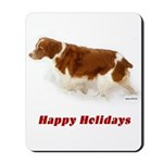 Brittany Spaniel Holiday Christmas Mousepad