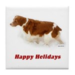 Brittany Spaniel Holiday Christmas Tile Coaster