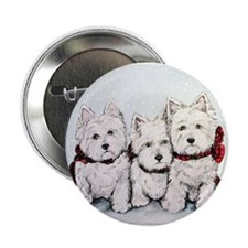 "Westies in the snow 2.25"" Button (10 pack)"