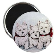 "Westies in the snow 2.25"" Magnet (10 pack)"