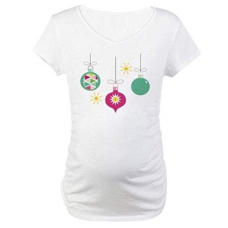 Christmas Ornaments Retro Maternity T-Shirt