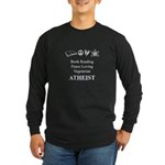 Book Peace Vegetarian Atheist Long Sleeve Dark T-S