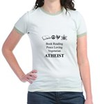 Book Peace Vegetarian Atheist Jr. Ringer T-Shirt