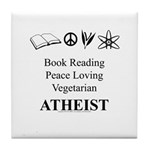 Book Peace Vegetarian Atheist Tile Coaster