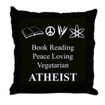 Book Peace Vegetarian Atheist Throw Pillow