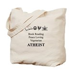 Book Peace Vegetarian Atheist Tote Bag