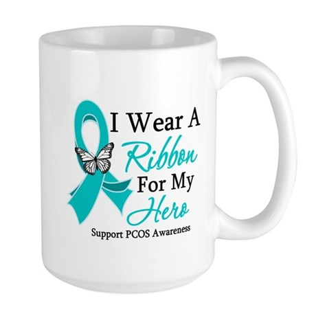 PCOS Ribbon For My Hero Large Mug