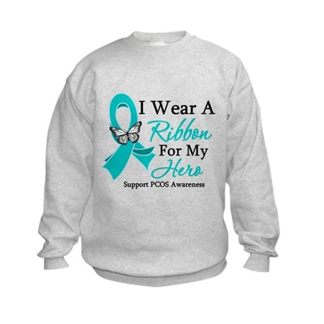 PCOS Ribbon For My Hero Kids Sweatshirt