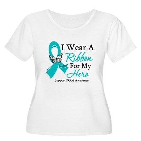 PCOS Ribbon For My Hero Women's Plus Size Scoop Ne