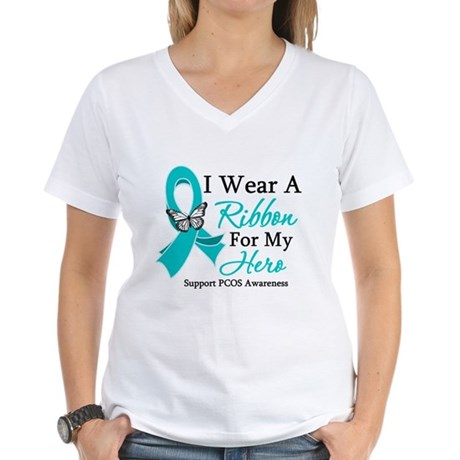 PCOS Ribbon For My Hero Women's V-Neck T-Shirt