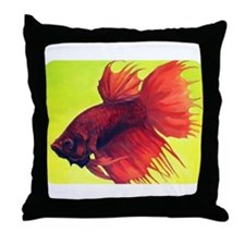 <b>Red Crowntail Betta</b> Throw Pillow