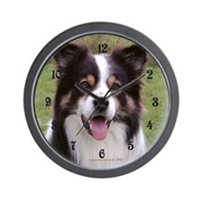 Tricolour Border Collie Wall Clock