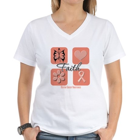 Uterine Cancer Faith Women's V-Neck T-Shirt