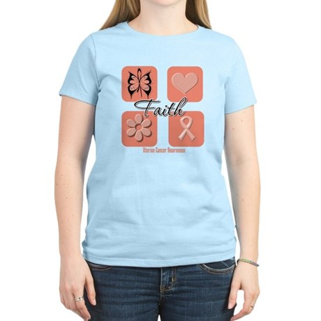 Uterine Cancer Faith Women's Light T-Shirt