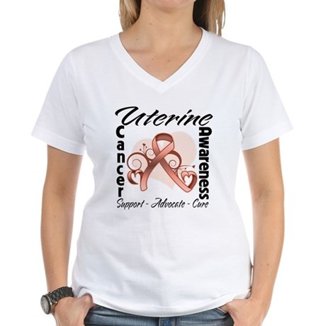 Uterine Cancer Awareness Women's V-Neck T-Shirt