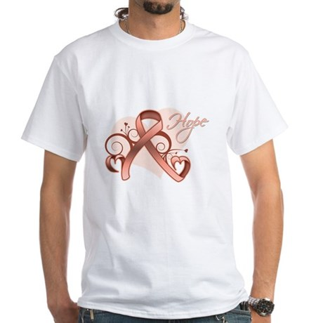 Hope Uterine Cancer White T-Shirt