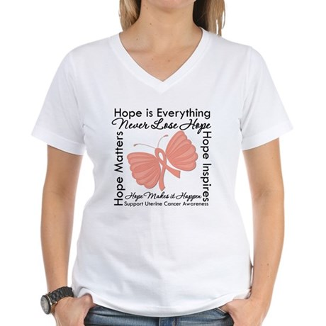 Hope - Uterine Cancer Women's V-Neck T-Shirt