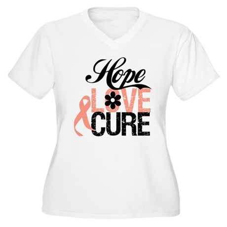 Uterine Cancer HopeLoveCure Women's Plus Size V-Ne