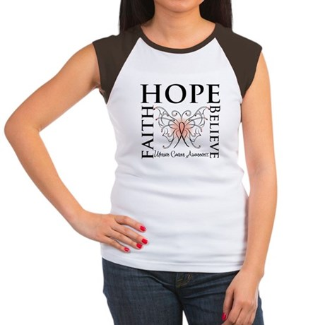 Hope Believe Uterine Cancer Women's Cap Sleeve T-S