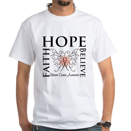 Hope Believe Uterine Cancer White T-Shirt