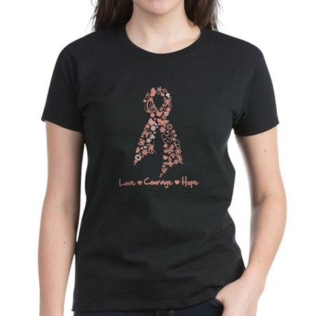 ButterflyRibbon Uterine Cance Women's Dark T-Shirt