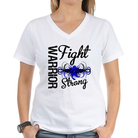 Warrior Colon Cancer Women's V-Neck T-Shirt