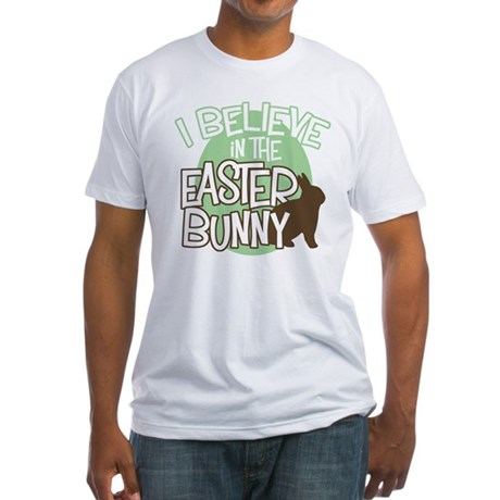 Believe Easter Bunny Fitted T-Shirt