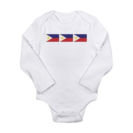 Philippine Flags Long Sleeve Infant Bodysuit