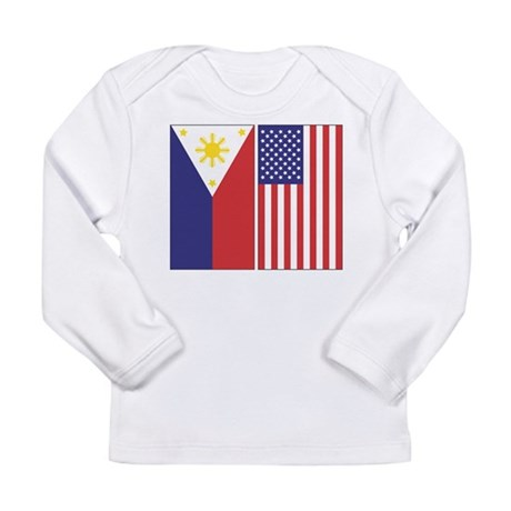 Philippine Flag & US Flag Long Sleeve Infant T