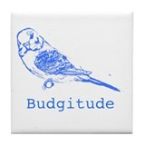 Cute Blue budgies Tile Coaster