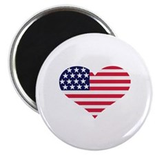 "US flag heart 2.25"" Magnet (100 pack)"