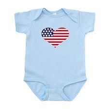 US flag heart Infant Bodysuit