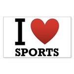 I Love Sports Sticker (Rectangle 50 pk)