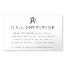 U.S.S. Enterprise Plaque Decal