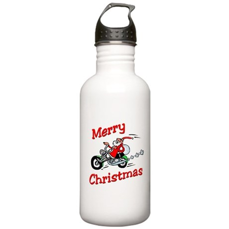 Motorcycle Santa Stainless Water Bottle 1.0L