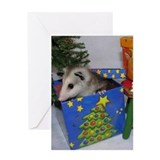 Christmas Card Opossum in Gift Box