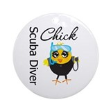 Scuba Diver Chick Ornament (Round)