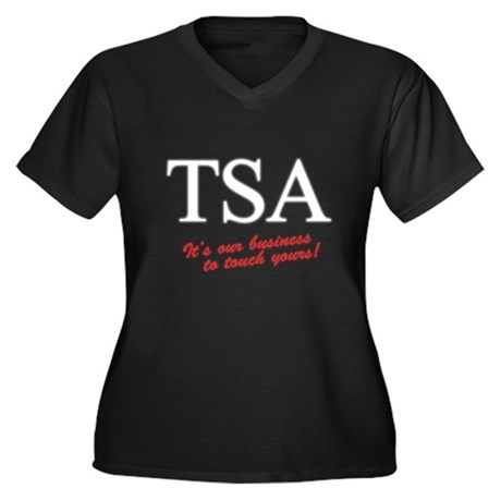 TSA Our Business Womens Plus Size V-Neck Dark T-S