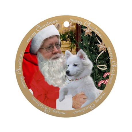 Am Eskimo Pics With Santa Ornament (Round)